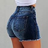 FENGLINZEKANG Push Up Shorts for Frauen Einfarbig Skinny High Waisted Denim Short Pants -