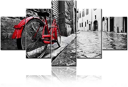 HNSYZS Cinque 5 Tele Moderni Stampa Artistica Bianco e Nero Città Parigi Londra architettura Strada Bicicletta Rossa contemporanea su Tela in Pittura Decorativa casa