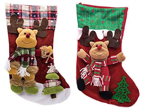 Calcetín de Navidad- 2piezas Pack 3D Medias de regalo Renos
