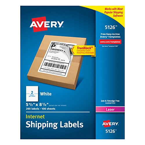 Avery 5126 Shipping Address Labels  Laser Printers  200 Labels  Half Sheet Labels  Permanent Adhesive  TrueBlock  White
