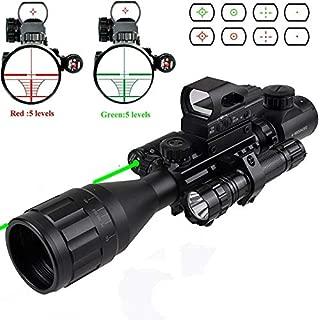 XopingABC Rifle Scope Combo C4-16x50EG/12x50EG Dual Illuminated with Green Laser Sight 4 Holographic Reticle Red/Green Dot for Weaver/Rail Mount