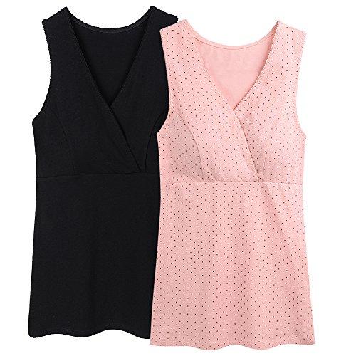ZUMIY Nursing Top, Damen Still-Shirt Stillen Kleidung Schwangerschaft Still-top, Black pink Dot/ 2pack, M
