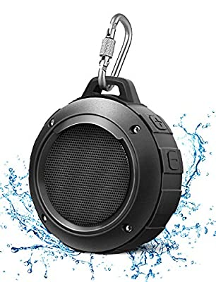 Portable Bluetooth Speaker, LENRUE IPX5 Waterproof Outdoor Shower Audio Speakers with HD Stereo, 8 Hour Playtime, Bulit-in Mic, Carabiner, Suction Cup, for Sport, Hiking, Camping, Beach, Pool (Black) by LENRUE