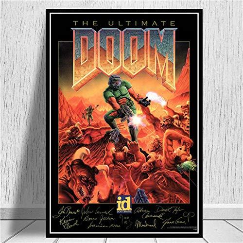 JMHomeDecor Impresiones De Carteles Videojuegos Clásicos De Halo The Ultimate Doom Wall Art Canvas Painting Pictures para La Decoración del Hogar De La Sala De Estar 40X50Cm El-2131