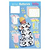 BUTTERICK PATTERNS B5583 Infants' Bunting, Jumpsuit, Shirt, Diaper Cover, Blanket, Hat, Bib, Mittens and Booties, Size NB0 (NB-S-M)