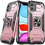 DASFOND Diseñado para Funda iPhone 11, Funda Protectora para teléfono de Grado Militar con Soporte Mejorado [Soporte magnético] para iPhone 11 de 6.1'', Oro Rosa