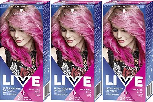 Schwarzkopf Live Ultra Brights or Pastel- Shocking Pink 93 (pack of 3) Schwarzkopf