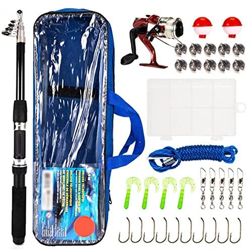 Accesorios de Pesca Kit Spinning Reel Combo Conjunto con Bolsas de caña de Pescar telescópicas de Carbono Línea de señuelos