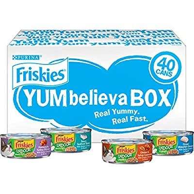 Purina Friskies Indoor Wet Cat Food Variety Pack, YUMbelievaBOX YUM-stoppable Indoor Adventures - (40) 5.5 oz. Pull-Top Cans