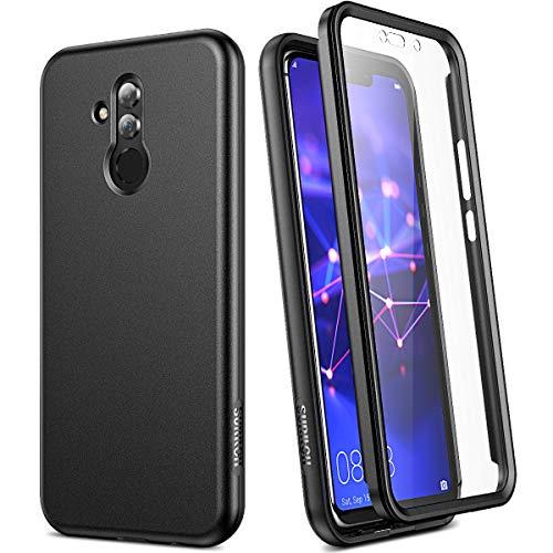 SURITCH Kompatibel mit Huawei Mate 20 Lite Hülle 360 Grad Komplettschutz Handyhülle Schutzhülle mit Bildschirmschutz Stoßfest Robuste Bumper Silikon Hülle für Huawei Mate 20 Lite 6.6 Zoll Schwarz