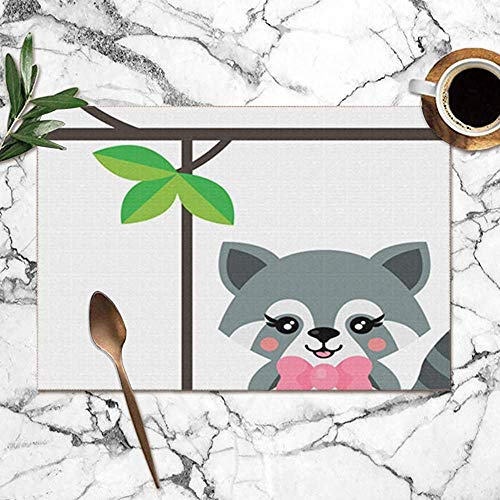 Placemats 6-delige set, Cartoon schattig Fox wasbeer op schommeldieren Wildlife Animal Nature hittebestendige placemats wasbare placemats 12x18 inch