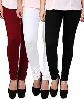 Swastik Stuffs Women's Cotton Lycra Leggings Combo Offer for Women (SSLMWB3_Maroon,White,Black_Free Size)(Pack of 3)