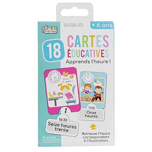 Jeux 2 Momes EA5002 Carte éducative-J'apprends l'heure-24 pcs, Papier, Multicouleur, 5 x 15 x 23,5 cm