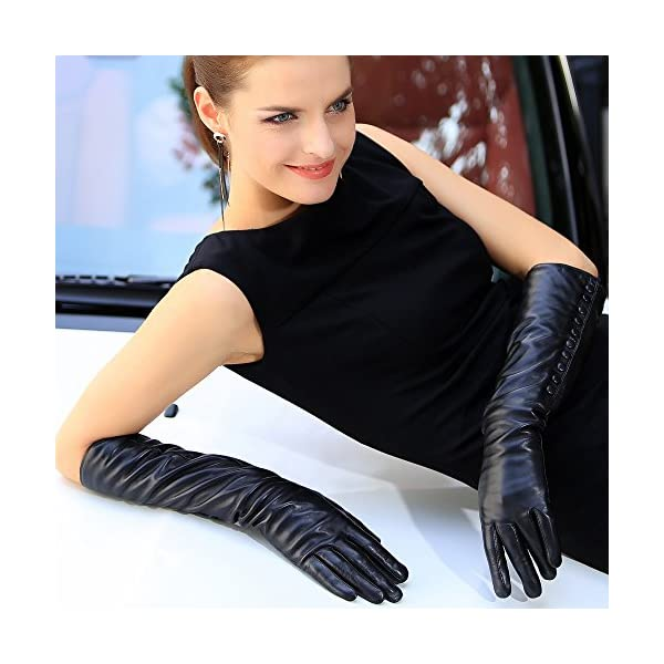 Women's Touchscreen Long Elbow Length Winter Fleece Lined Gloves Buttons