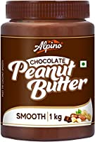Alpino Chocolate Peanut Butter Smooth 1 KG | Made with Roasted Peanuts, Cocoa Powder & Choco Chips | 20% Protein | Non...