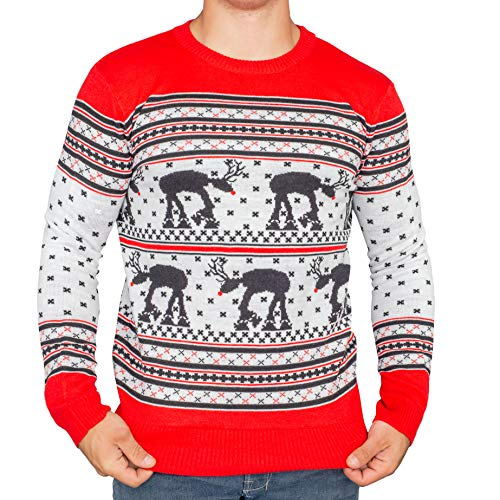 Star Wars at-at Reindeer Ugly Christmas Sweater (Adult Small)
