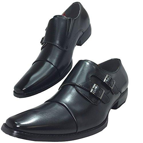 SABINA VALENTINO -4382 メンズ ビジネスシューズ モンクストラップ 脚長 紳士靴 (26.5cm, ブラック)