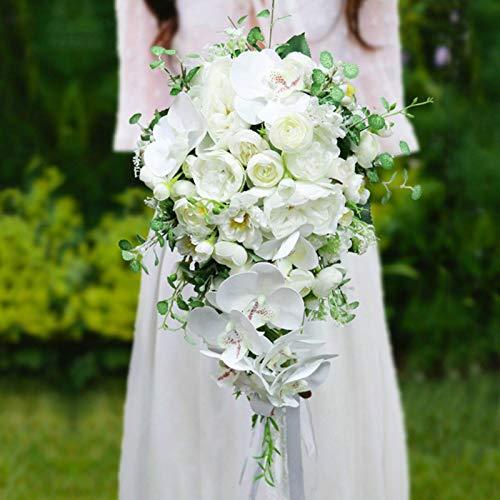 Tyueliang-Decoration Blumenstrauß für Braut, Hochzeit, Brautstrauß, künstliche Blumen, Orchidee, Weiß, Grün, Wasserfall, Blumenstrauß