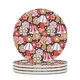 Perstonnoli Posavasos redondos de cerámica con base de corcho, 4 unidades, para vasos, jarrones, velas, 10 cm, color blanco, 6 unidades