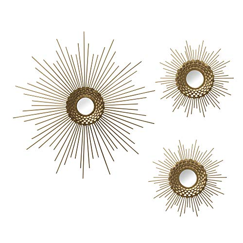 Motley Lane Set of 3 Gold Starburst Wall Mirrors - Handcrafted Glam Decorative Piece for Hallway, Study, Living Room, Bedroom - Gold Tone Finish, Textured Border Detail - Ready to Hang, Best Gift Idea