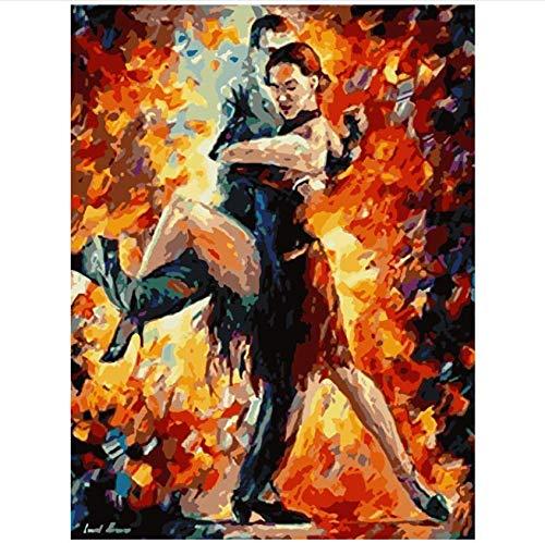 Fvfbd Malen nach Zahlen DIY abstrakte Tango-Figur Wandkunst Bild Acrylmalerei für Hochzeitsdekoration ohne Rahmen 40x50cm
