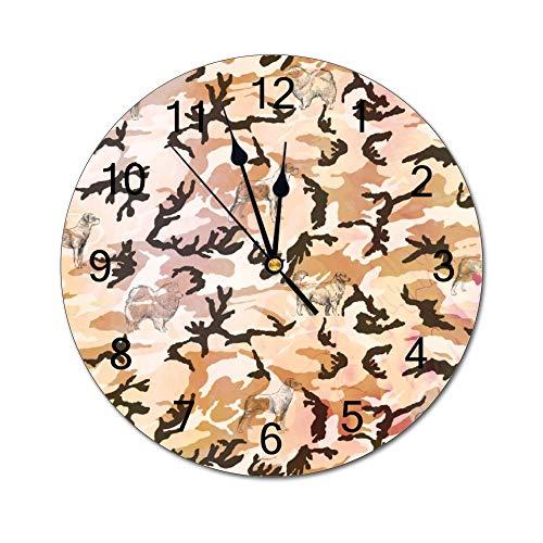 Reloj de pared de camuflaje no marca de marca silencioso, reloj de pared decorativo de PVC redondo, reloj de pared retro, accesorios de decoración del hogar, reloj de pared para dormitorio, cocina, sala de estar