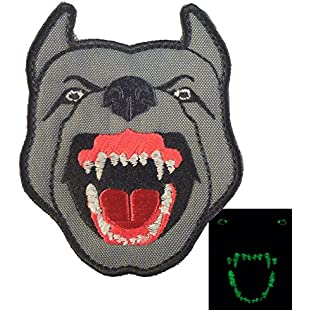 Glow Dark GITD K9 Pitbull Dog Teeth Scary Fierce Morale Tactical Embroidered Sew Iron on Patch