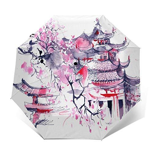 SUHETI Paraguas automático de Apertura/Cierre,Pintura de Acuarela de Arte Moderno,Estilo japonés,Flor de Cerezo y Arquitectura Vintage,Paraguas pequeño Plegable a Prueba de Viento