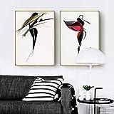 Eryan Fashion Girl Affiches et impressions Noir Modern Blanc Blanc Abstrait Toile Art Pour salon Salon Décor (50X70CM) x2 Industrie