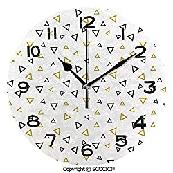 SCOCICI 10 inch Round Clock Memphis Triangle Geometric Vintage Retro 80S Inspired Pattern Unique Wall Clock-for Living Room, Bedroom or Kitchen Use