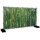 Bambus Motivbanner Garten, Sichtschutz, Gartendeko, Plane, Verschiedene Motive (PVC - 340 x 173 cm) (Bambus (3119))