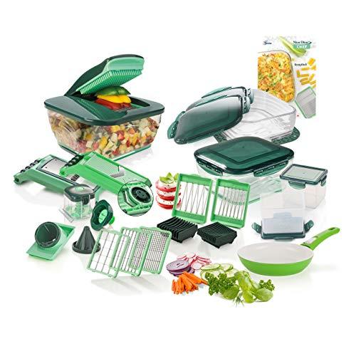 Genius Nicer Dicer Chef | Deluxe-Set | 35 Teile | Obstschneider | Gemüseschneider | Zwiebelschneider | Zerkleinerer | Gemüsehobel | Mandoline | Multischneider | Spiralschneider | Bekannt aus TV | NEU