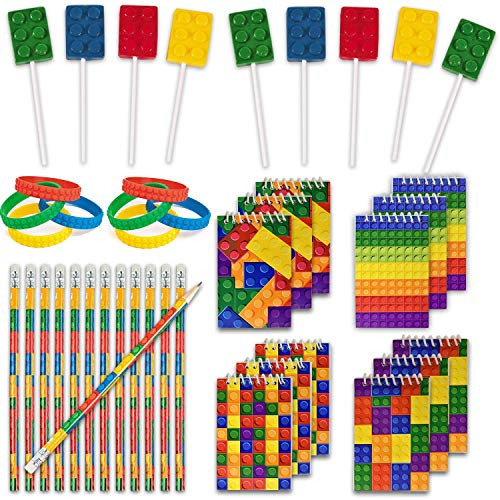48 Building Blocks Favors - 12 Lollipop Suckers in 4 Flavors + 12 Bracelets + 12 Mini Notepads + 12 Pencils, Great for Lego Enthusiastic Kids - Brick Birthday Party Supplies and Prizes