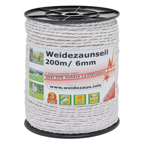 VOSS.farming 1000m Weidezaunseil 6mm Elektrozaunseil 7X 0,2 NIRO weißes Elektroseil Zubehör – für Weidezaun Elektrozaun Ponyzaun Pferdezaun