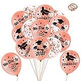 HOWAF Palloncini Laurea 35 Pezzi Oro Rosa Palloncini in Lattice Laurea Palloncini coriandoli per Laurea Decorazioni Festa 2021 addobbi Laurea Gadget Laurea Bomboniere
