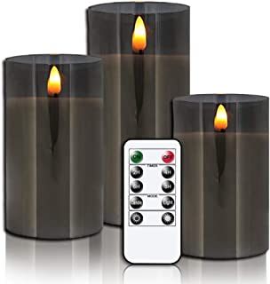 GenSwin Flameless Led Candles Flickering Battery Operated with Remote, Real Wax 3D Wick Moving Pillar Candles with Timer Remote Glass Effect for Festival Wedding Christmas Home Decor(Black)
