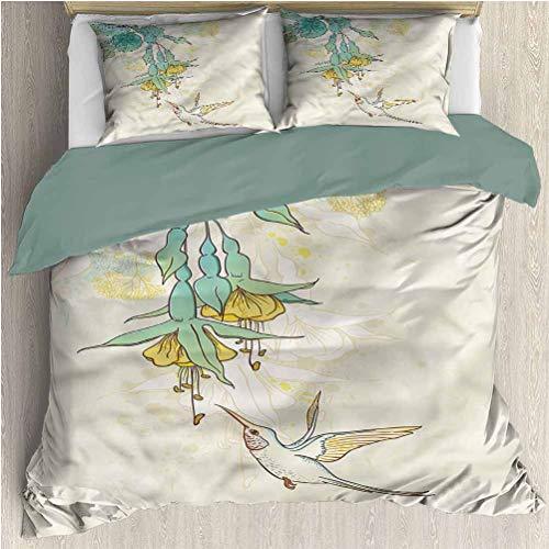 Bettwäsche-Set mit Kolibri-Tagesdecke...