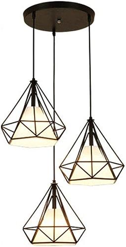 PoJu Suspension Cage Forme Diahommet Contemporain 25cm Corde Ajustable Luminaire Lustre en Fer Salle à Manger,Bar,Chambre (Couleur   3 Head A)