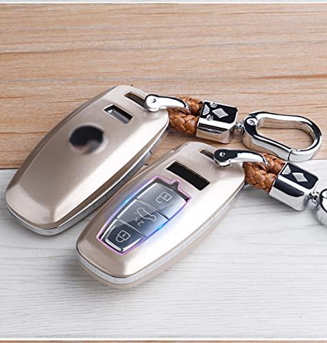 ZYHYCH ABS Carbon Fibe Car Remote Key Cover Case, Apto para Audi A6L A7 A8 Q8 C8 D5 E-Tron Car Smart Key Protect Holder Llavero, Dorado Claro