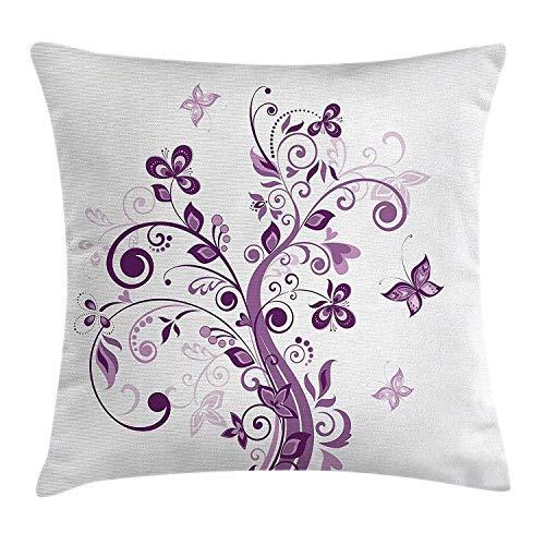 Árbol de decoración malva con ramas en espiral y flores, hojas, mariposas, tema de inspiraciones nupciales, funda de cojín de almohada blanca púrpura, funda de almohada decorativa cuadrada decorativa,