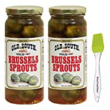 Old South Pickled Brussels Sprouts, Hot 16 oz (2 Pack) Bundled with PrimeTime Direct Silicone Basting Brush in a PTD Sealed Bag