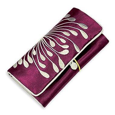 Jewelry Roll Clutch - Embroidered Chrysanthemum (Raspberry)