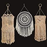 MOTINI Macrame Lamp Shades 3 Pack Wall Decor and Handmade Lampshade Bohemian Lamp Shade Hanging Ceiling...
