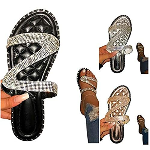 Portazai Sandals for Women Dressy,Womens New 2021 Comfy Crystal Flat Sandal Shoes Casual Summer Beach Slippers Flip Flop