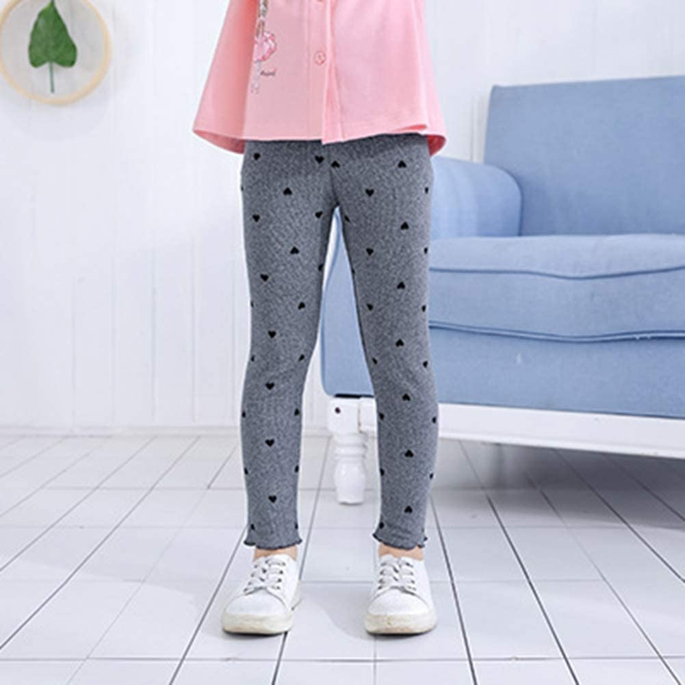 Baywell Kids Girls Cotton Leggings Heart-Shape Printed Pants Casual Trousers Toddler Clothes Bottoms