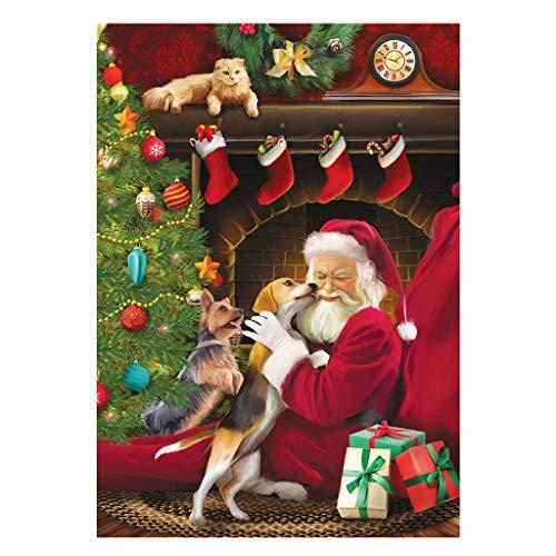 Pintura de diamantes de navidad 5D cuadrados, square diy diamond painting diseño de Papá Noel y perro, con diamantes de imitación 5D,punto de cruz para decoración de pared, 30 x 40 cm