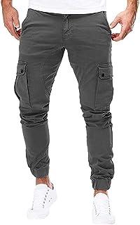 comprar comparacion Subfamily Pantalones de Herramientas Deportivas Casuales Multibolsillos de Color Liso para Hombre Azul Marino, Pure Color ...