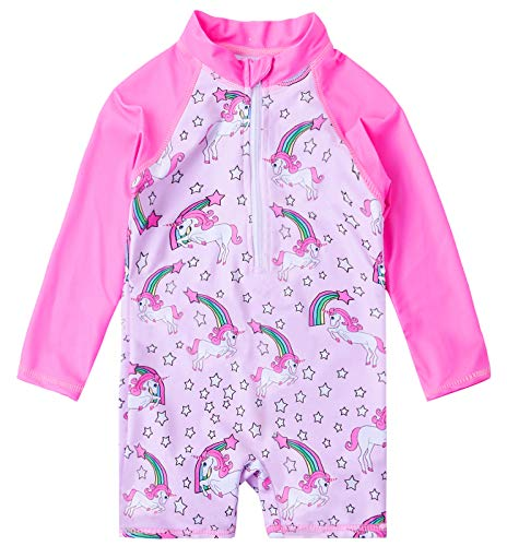 uideazone UPF 50+ Rash Guard Swimsuit Toddler Baby Girls Rainbow Unicorn Bathing Suit Long Sleeve Swimming Beachwear