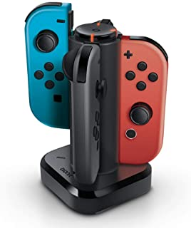 Bionik Tetra Power - Nintendo Switch Joy Con Charging Dock (4 Controllers) with Built-In Cable Adjustment System and LED C...