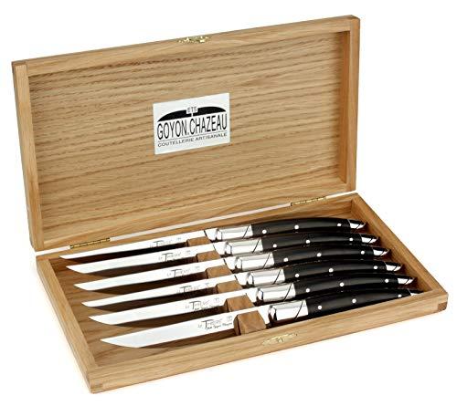 Goyon-Chazeau - Sechs Original Steakmesser aus Frankreich - Griff Ebenholz - Edle Tafelmesser - Stahl glänzend